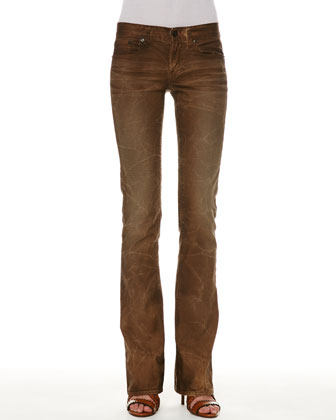 109 Distressed Boot-Cut Jeans