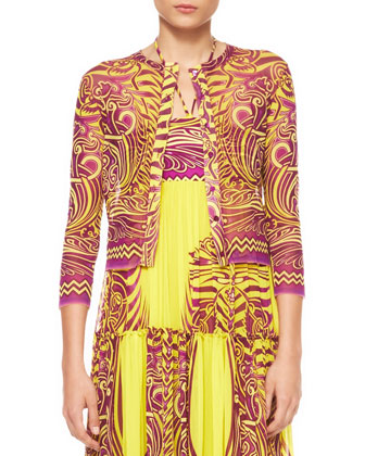 Cropped Printed Tulle Cardigan, Yellow