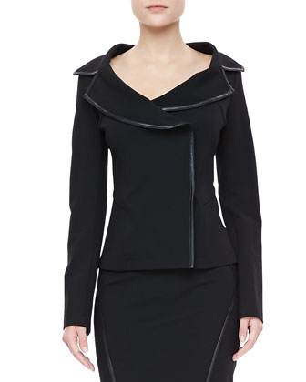 Leather-Trim Offset Jacket & Slim Skirt