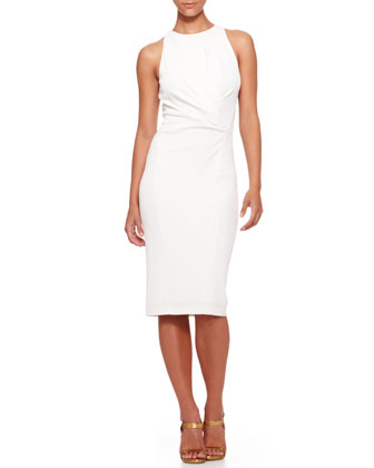 Sleeveless Draped-Waist Sheath Dress