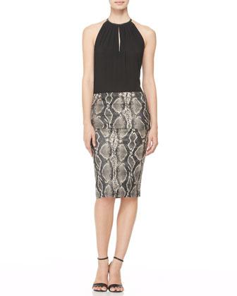 Snake-Print Fold-Over Skirt