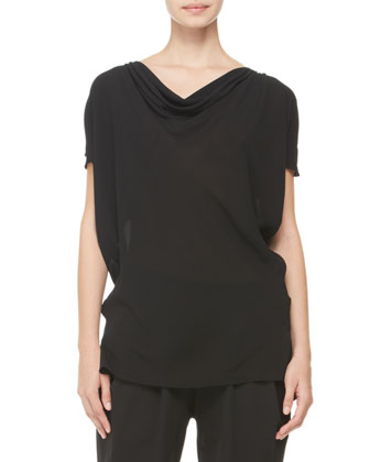 Draped Cold-Shoulder Blouse & Pleated Tapered-Leg Trousers