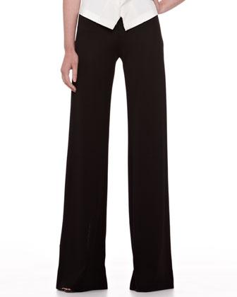 Wide-Leg Jersey Trousers