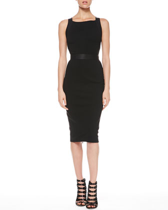 Full-Zip Combo Sheath Dress