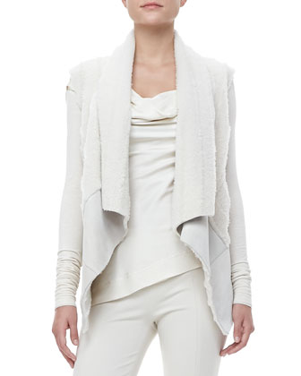 Draped Shearling-Suede Vest, Asymmetric-Neck Top and Pull-On Leggings
