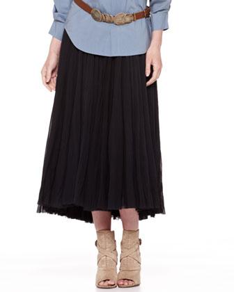 Jersey-Waist Broomstick Skirt