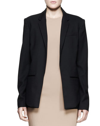 Oversized Open-Front Stretch-Wool Blazer