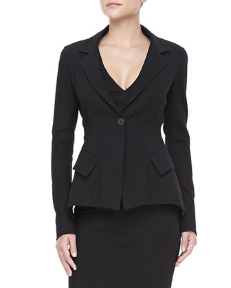 Stretch Modern-Peplum Jacket and Crushed-Waist Midi Dress
