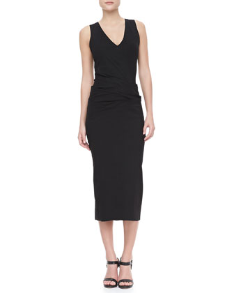 Crushed-Waist Midi Dress
