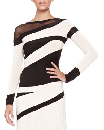 Bicolor Banded Mesh-Panel Top