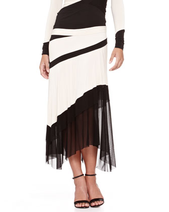 Bicolor Banded Mesh-Panel Top and Mesh-Bottom Skirt