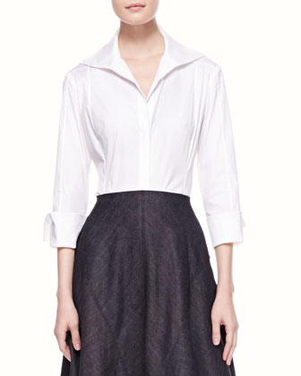 3/4-Sleeve Poplin Blouse, White