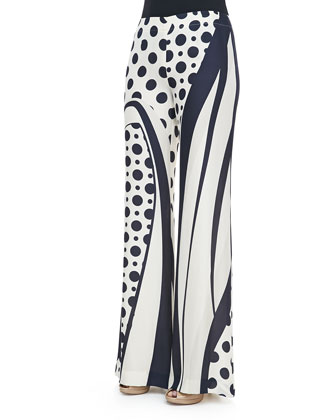 Printed Silk Wide-Leg Pants