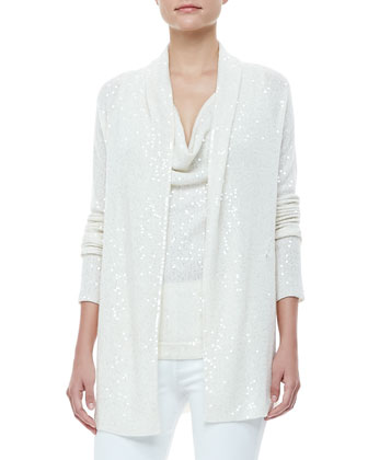 Sequined Drape-Front Cardigan and Cowl-Neck Top & Boot-Cut Pull-On Pants