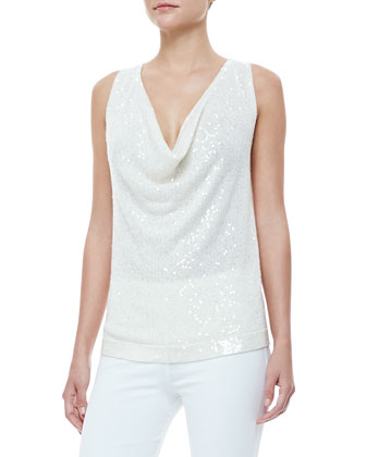 Sequined Cowl-Neck Cashmere Top, Ivory
