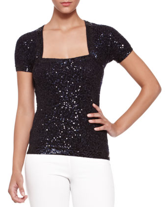 Sequined Shrug Top, Dark Navy