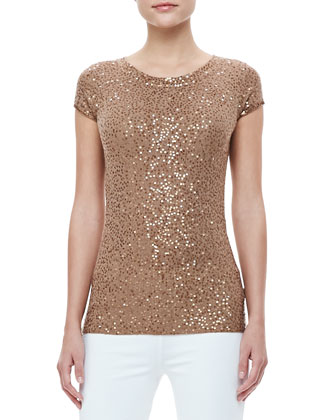 Sequined Cap-Sleeve Cashmere T-Shirt