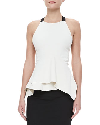 Cross-Back Peplum Top and Asymmetric Trumpet Skirt