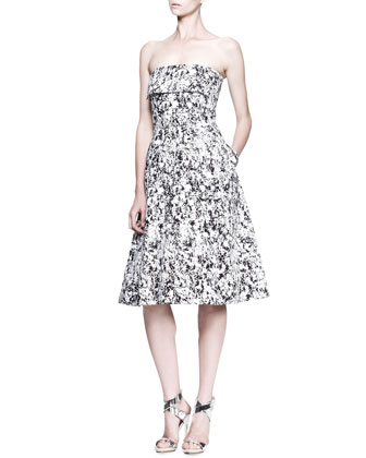 Fresco Printed Strapless Dress
