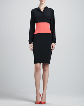 Long-Sleeve Milano Colorblock Dress, Caviar/Hibiscus