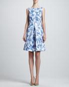 Sleeveless Abstract-Print Dress, Pacific/Multi