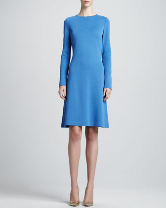 Long-Sleeve Milano A-Line Dress, Pacific