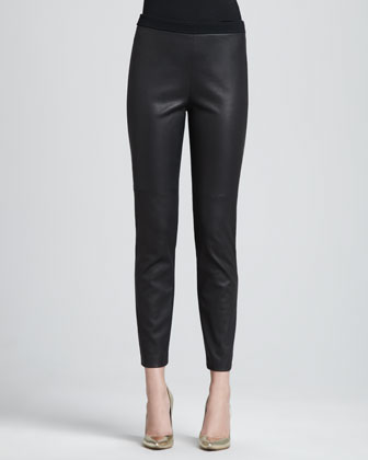 Luxe Leather-Front Knit-Back Pants, Caviar