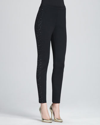 Stretch Milano Slim Pants with Scattered Sequin Details, Caviar