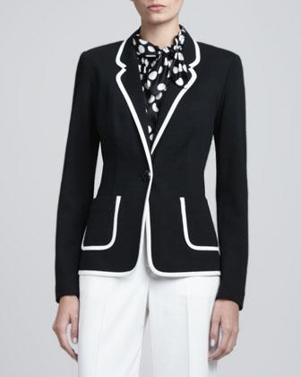 Contrast-Trim Milano Blazer, Caviar/White
