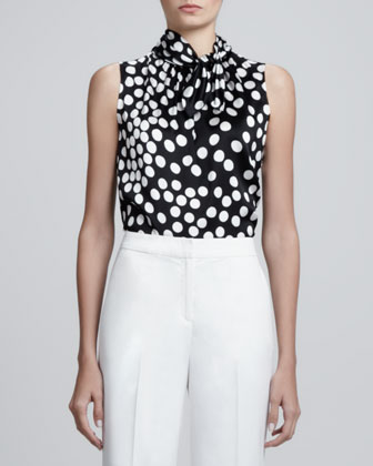 Sleeveless Dot-Print Charmeuse Top, Caviar/Multi