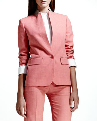 Textured Stand-Collar Blazer