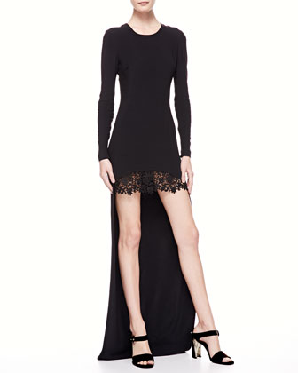 High-Low Lace-Skirt Gown