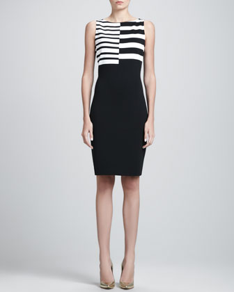 Sleeveless Asymmetric-Striped Dress, Caviar/White