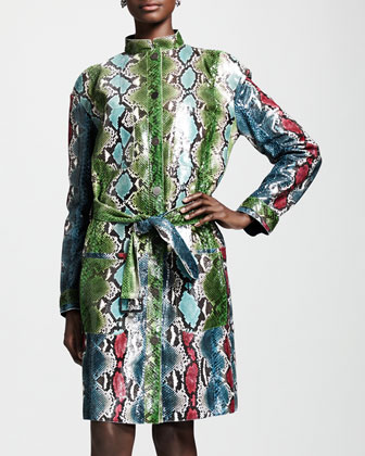 Hand-Painted Python Coat, Green/Multi
