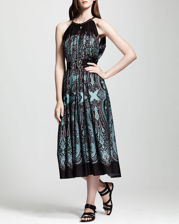 Womens Printed Cutaway Shoulder Dress, Brown/Turquoise   Lanvin   Turq (38/6)