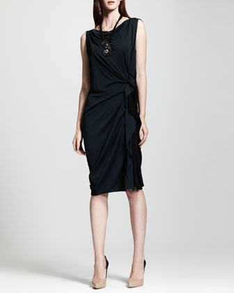 Bicolor Side-Ruched Shift Dress, Blue/Black