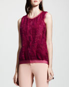 Lace-Front Knit Top, Fuchsia