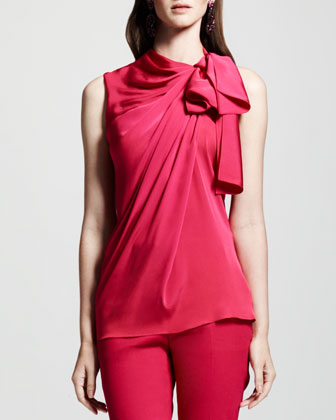 Tie-Neck Sleeveless Blouse, Pink