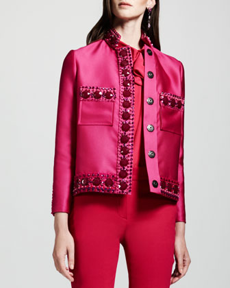 Crystal-Embellished Duchesse Jacket, Tie-Neck Sleeveless Blouse & ...