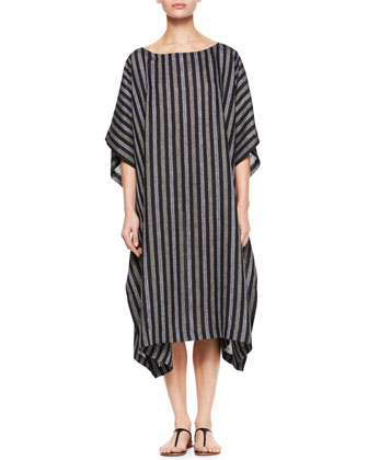 Bateau-Neck Caftan Dress, Black