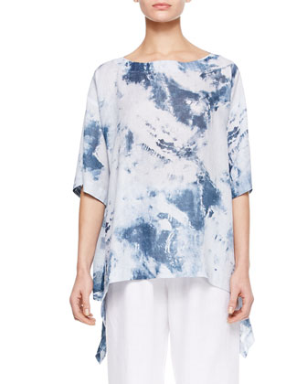 Side-Cascading T-Shirt, Denim