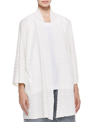 Oversized Rib Detail Cardigan, Sleeveless A-Line Linen Shell & Seamed ...