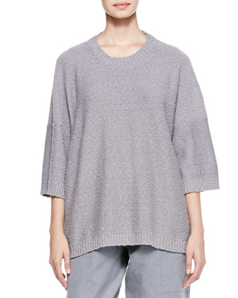 Round-Neck T-Shirt Sweater, Gray