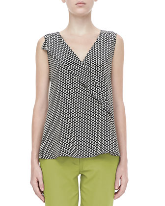 Sleeveless Ruffled Dot-Print Blouse, Black
