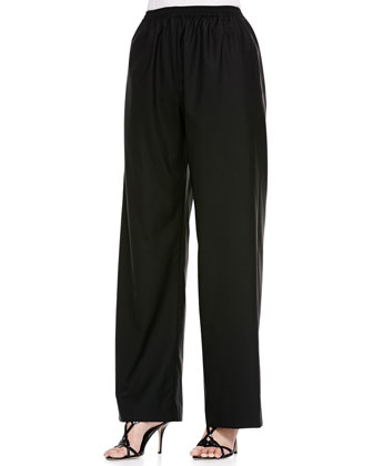 Wide-Leg Trousers, Black