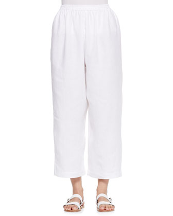 Linen Japanese Trousers, White