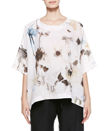 Wide Floral T-Shirt Caftan, White