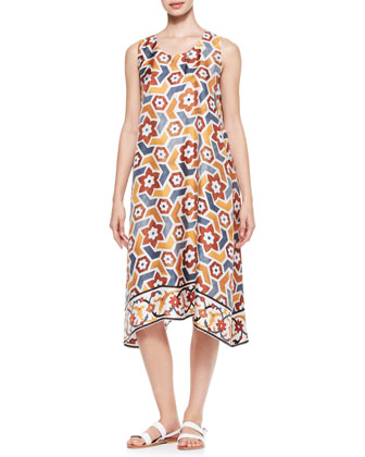 Printed Pleated Sleeveless Dress, Marble/Multi