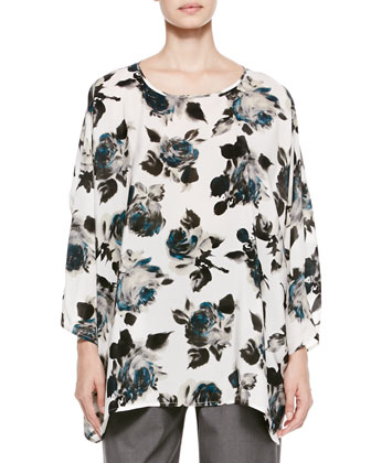 Long Floral Boat-Neck Top