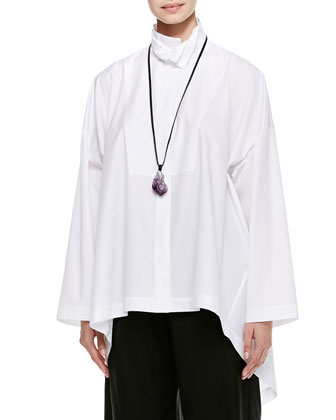 High-Low Shirt with 2 Collars, White